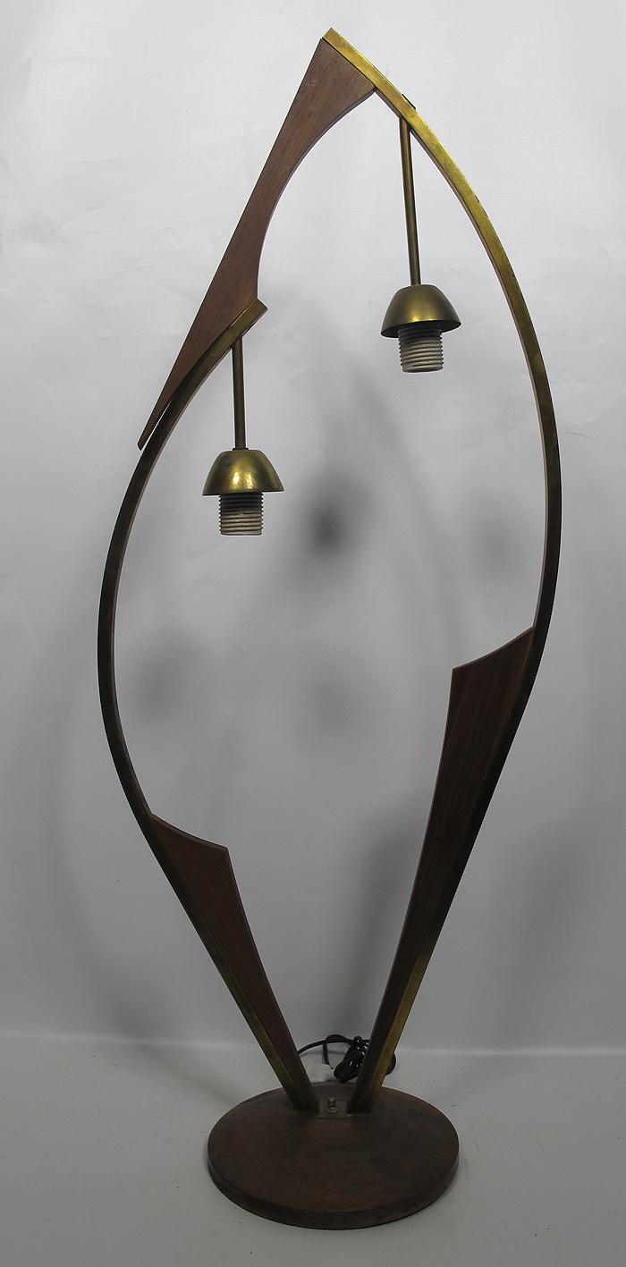 Mid century modern eames nelson era brass teak wood for Eames lampe